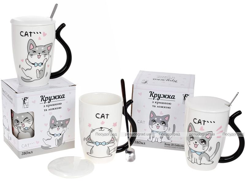 "Кружка порцелянова ""Funny Cats"" 380мл з кришкою і ложкою, 4 дизайни"