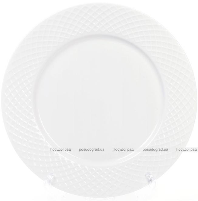 Набор 8 фарфоровых тарелок Emilia-Romagna Ø27см, обеденные (сетка)