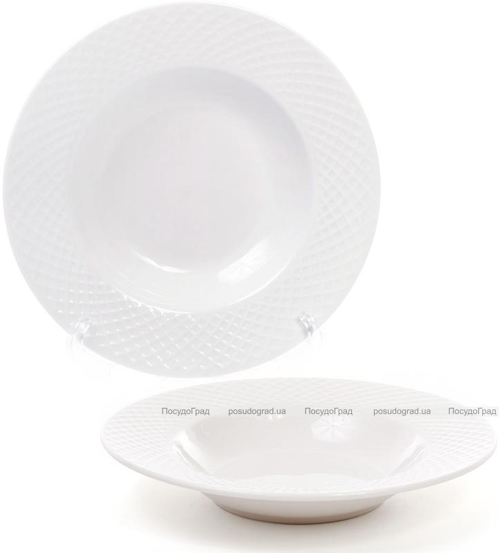 Набор 6 фарфоровых тарелок Emilia-Romagna Ø22см, порционные (сетка)