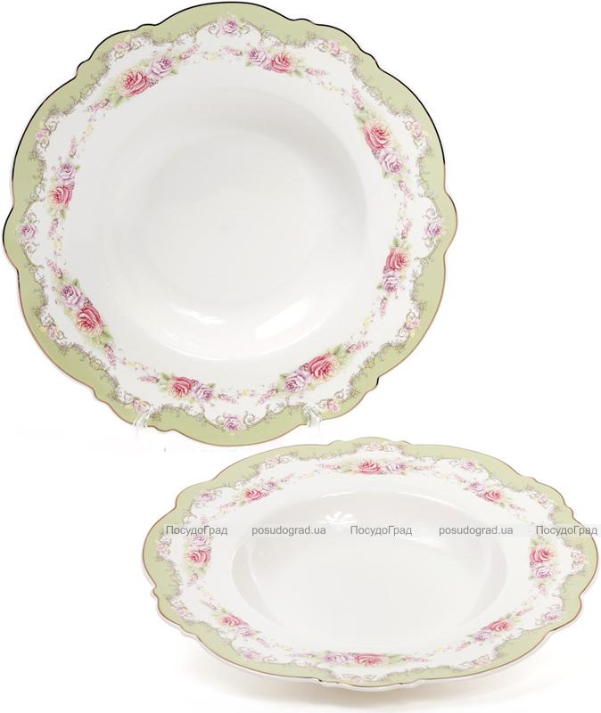 Набор 6 фарфоровых обеденных суповых тарелок Bristol Ø23см, мятный цвет