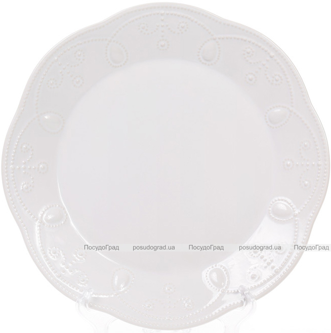 Набір 6 обідніх тарілок Leeds Ceramics Ø28.5см, кам'яна кераміка (білі)