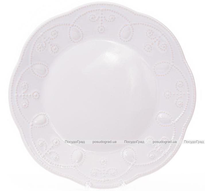 Набор 6 десертных тарелок Leeds Ceramics Ø23см, каменная керамика (белые)