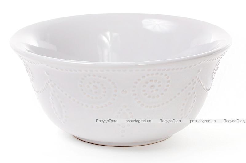 Набор 6 салатников (пиал) Leeds Ceramics 800мл, каменная керамика (белые)