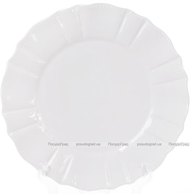 Набор 6 обеденных тарелок Leeds Ceramics SUN Ø26см, каменная керамика (белые)