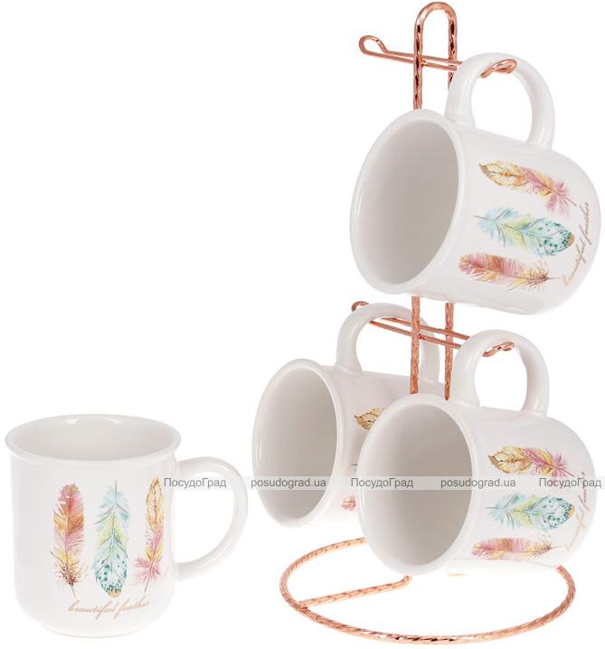 """Набір 4 керамічні чашки """"Перо жар-птиці"""" 320мл на підставці"""