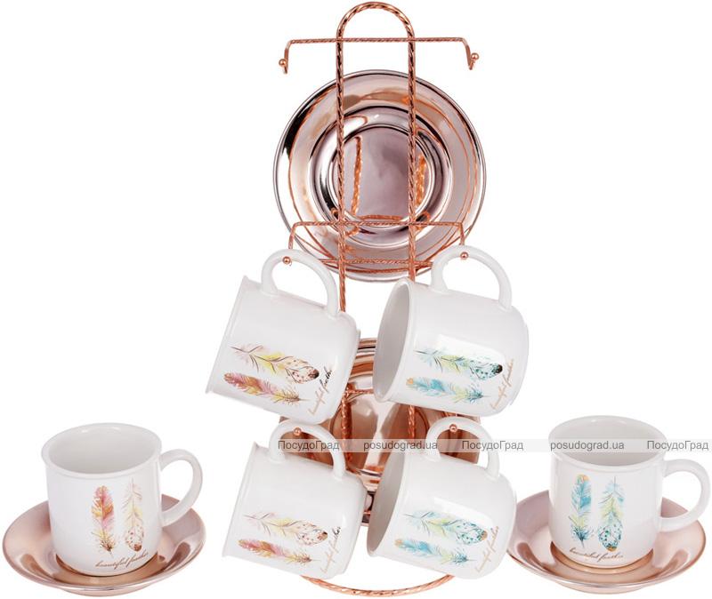 """Чайний набір """"Перо жар-птиці"""" 6 чашок 250мл з блюдцями на підставці"""