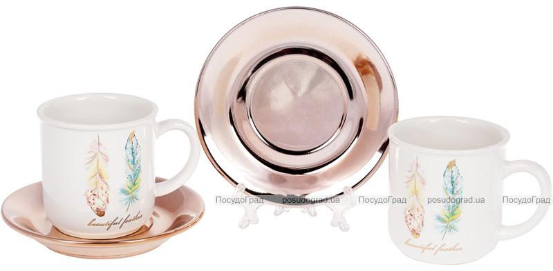 """Чайний набір """"Перо жар-птиці"""" 6 чашок 250мл з блюдцями"""