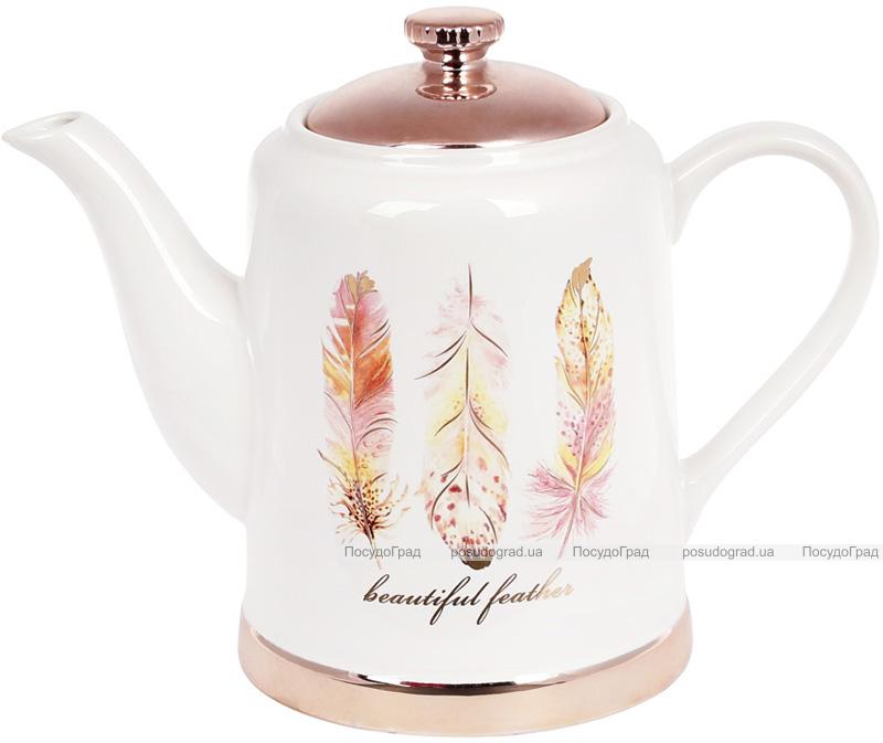 """Чайник заварочный Плюмаж """"Перо жар-птицы"""" 1л, керамический"""