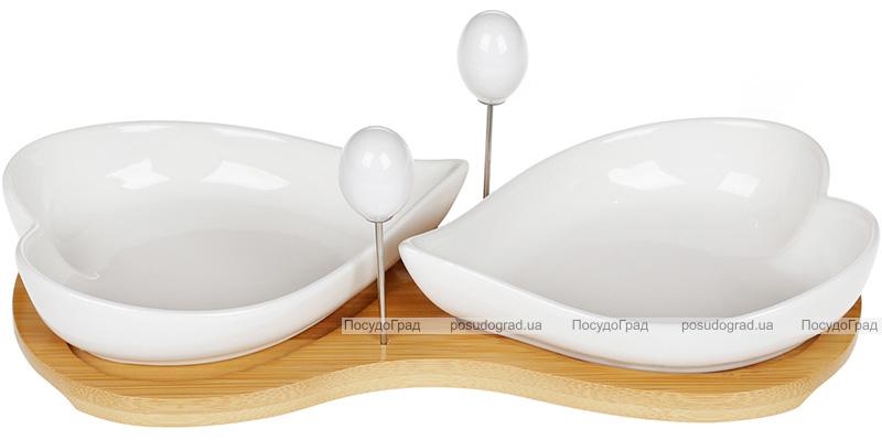 "Набор блюдец-оливниц Nouvelle Home ""Сердце"" с вилочками, на бамбуковой подставке"