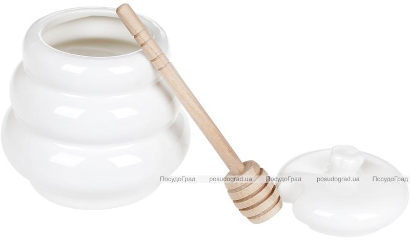 Медовница фарфоровая Nouvelle Home Спираль 400мл с бамбуковой ложкой-булавой