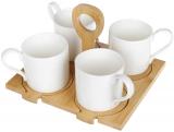 Набір 4 кружки Nouvelle Home 250мл з бамбуковими костерами на підставці