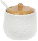 Сахарница фарфоровая Nouvelle Home Незабудки 350мл с ложечкой и бамбуковой крышкой