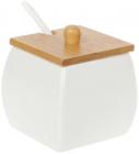 "Цукорниця порцелянова Nouvelle Home ""Куб"" 330мл з ложечкою і бамбуковою кришкою"