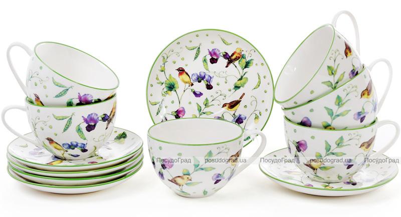"""Чайний порцеляновий набір """"Кантрі"""" 6 чашок 210мл із блюдцями (12 предметів)"""