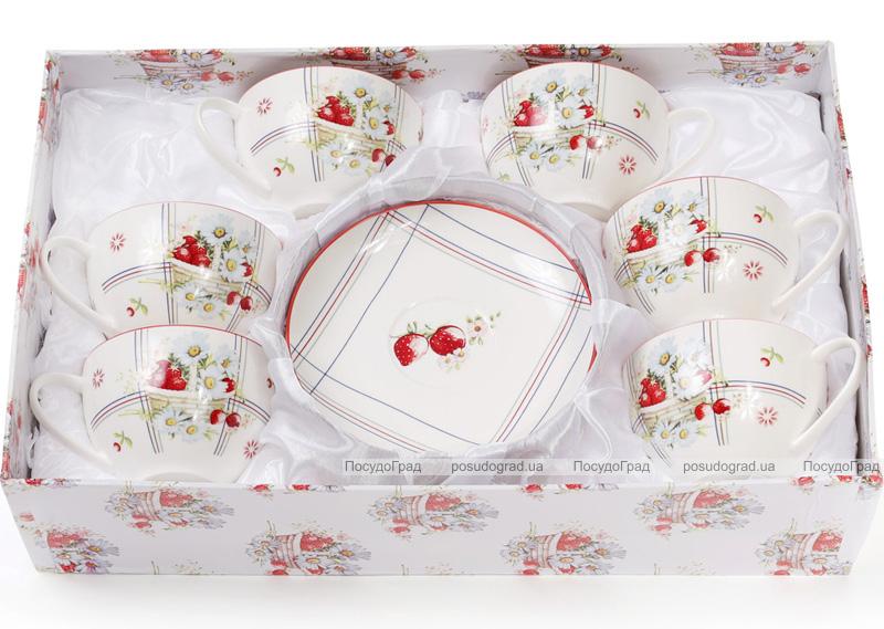 """Чайный фарфоровый набор """"Земляничная фантазия """" 6 чашек 210мл с блюдцами (12 предметов)"""
