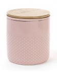 Банка Gold Star-108 для сипучих продуктів 1000мл з бамбуковою кришкою, рожева