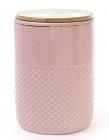 Банка Gold Star для сыпучих продуктов 1450мл с бамбуковой крышкой, розовая