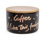 """Банка фарфоровая """"Coffee"""" 600мл с бамбуковой крышкой, черная"""