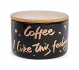 """Банка фарфоровая """"Coffee"""" 700мл с бамбуковой крышкой, черная"""