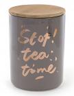 """Банка фарфорова """"Tea time"""" 1225мл з бамбуковою кришкою, сіра"""