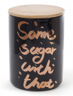 """Банка фарфоровая """"Some sugar"""" 1225мл с бамбуковой крышкой, черная"""