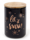 """Банка фарфоровая """"Let it snow"""" 725мл с бамбуковой крышкой, черная"""
