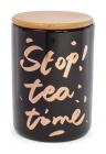 """Банка фарфоровая """"Tea time"""" 700мл с бамбуковой крышкой, черная"""