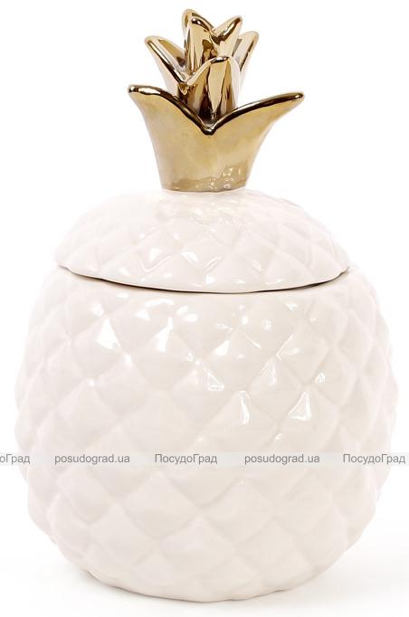 """Банка фарфоровая """"Ананас"""" 750мл с керамической крышкой, цвет слоновой кости"""