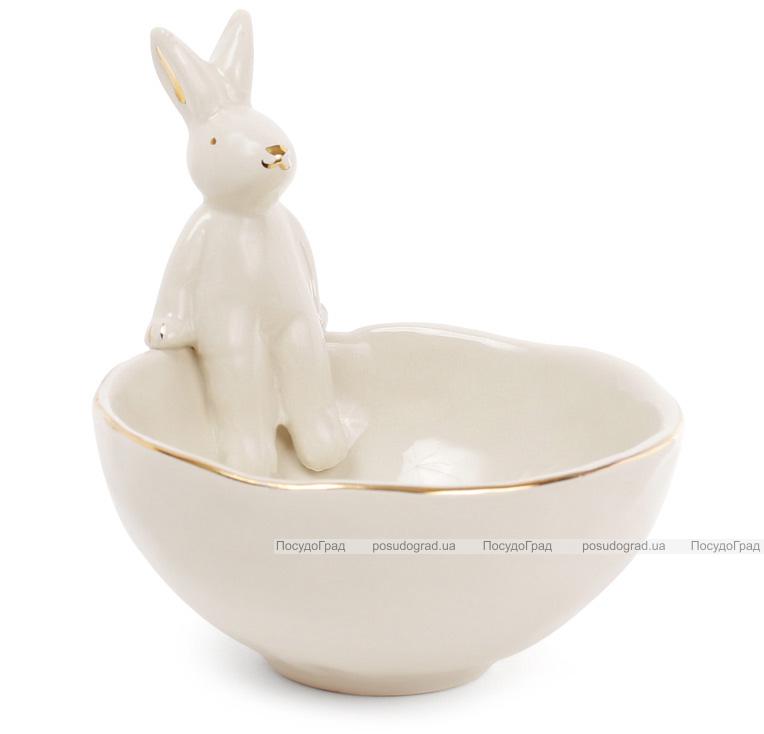 """Пиала керамическая """"Умный кролик"""" 250мл, бежевая с фигуркой кролика"""