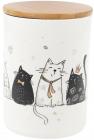 """Банка порцелянова """"Чорно-білі коти"""" 1л з бамбуковою кришкою"""