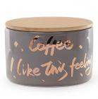 """Банка фарфорова """"Coffee"""" 700мл з бамбуковою кришкою, сіра з золотом"""