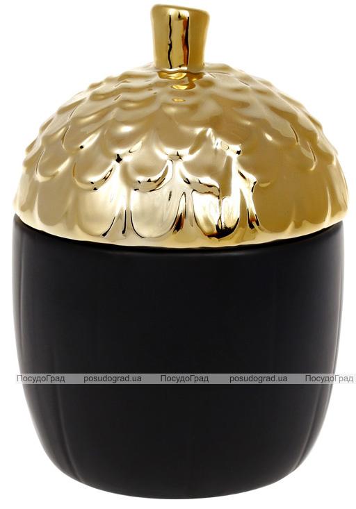 """Банка керамічна """"Золотий Жолудь"""" 670мл, чорна"""