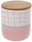 """Банка фарфоровая """"Клетка"""" для сыпучих продуктов 900мл с деревянной крышкой, белый с розовым"""