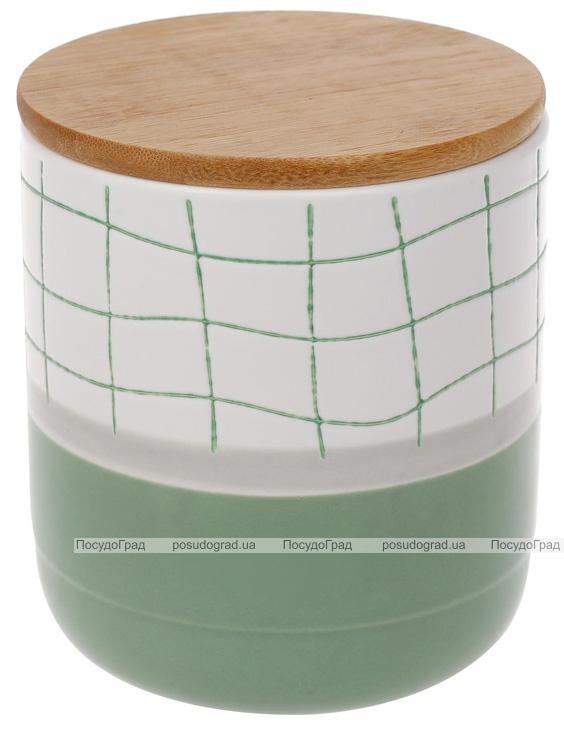 """Банка порцелянова """"Клітка"""" для сипучих продуктів 900мл з дерев'яною кришкою, білий з м'ятним"""
