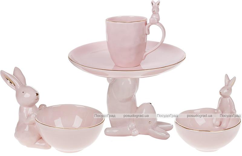 """Пиала керамическая """"Умный Кролик"""" 500мл, розовая с фигуркой кролика"""