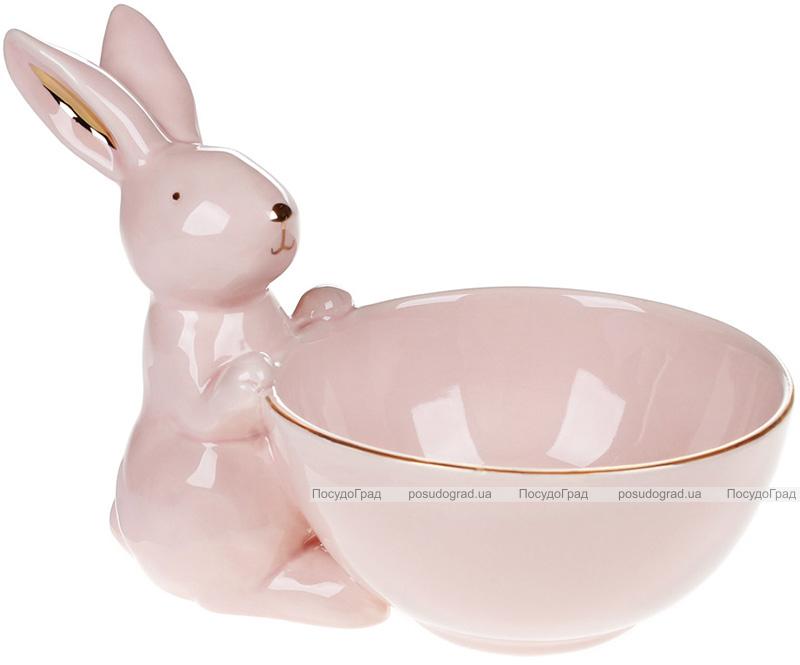 """Піала керамічна """"Розумний Кролик"""" 500мл, рожева з фігуркою кролика"""