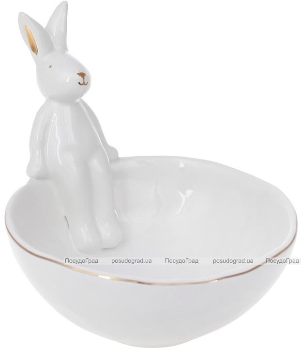 """Піала керамічна """"Розумний Кролик"""" 550мл, біла з фігуркою кролика"""