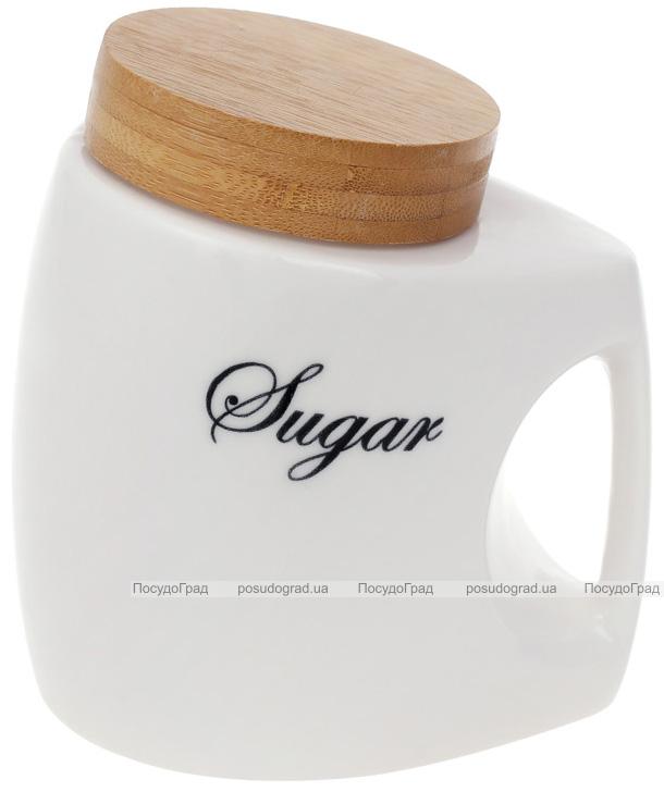 """Банка порцелянова Nouvelle Home """"Sugar"""" 1л з бамбуковою кришкою"""