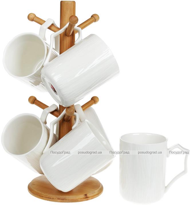 Набір 6 кружок Nouvelle Home 355мл на бамбуковій стійці
