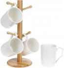 Набор 4 кружки Nouvelle Home 355мл на бамбуковой стойке