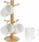 Набір 4 кружки Nouvelle Home 355мл на бамбуковій стійці