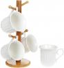 Набір 4 кружки Nouvelle Home Смуги 395мл на бамбуковій стійці