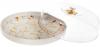 """Блюдо-тортівниця порцелянове """"Мармурова Розкіш"""" Ø29см з ковпаком, білий мармур"""