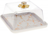 """Блюдо-тортовница фарфоровое """"Мраморная Роскошь"""" Ø21см с колпаком, белый мрамор, квадратное"""