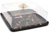 """Блюдо-тортовница фарфоровое """"Мраморная Роскошь"""" Ø28см с колпаком, черный мрамор, квадратное"""