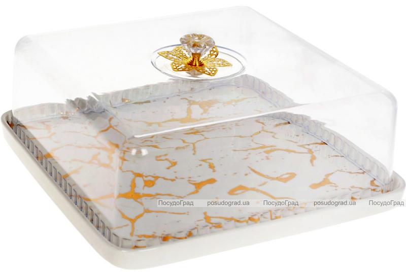 """Блюдо-тортовница фарфоровое """"Мраморная Роскошь"""" Ø28см с колпаком, белый мрамор, квадратное"""