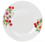 "Набор 6 фарфоровых обеденных тарелок ""Вишня"" Ø23см"
