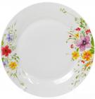 """Набор 6 фарфоровых обеденных тарелок """"Цветы акварелью"""" Ø27см"""