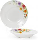 """Набір 6 порцелянових супових тарілок """"Квіти аквареллю"""" Ø23см"""