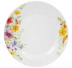 """Набор 6 фарфоровых обеденных тарелок """"Цветы акварелью"""" Ø23см"""